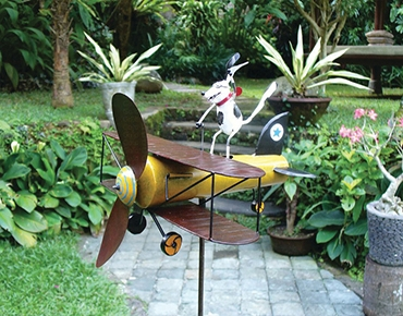 whirligig metal garden sculpture
